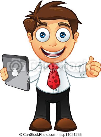 El hombre de negocios se junta con tablet - csp11081256