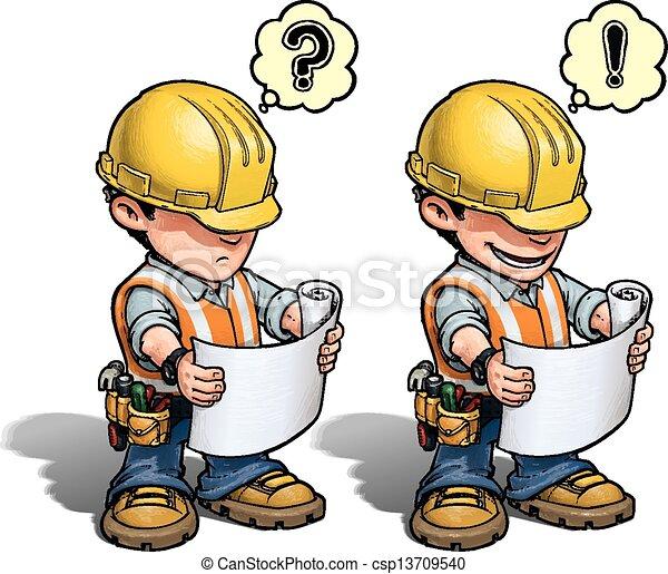 Trabajador de construcción, plan de lectura - csp13709540