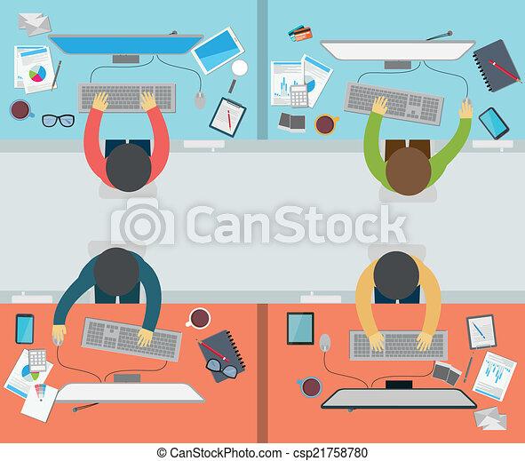 Actividad de oficinista en estilo plano - csp21758780