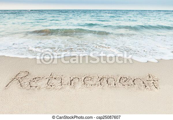 Retiro escrito en arena por mar - csp25087607