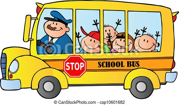 Autobús escolar con niños felices - csp10601682