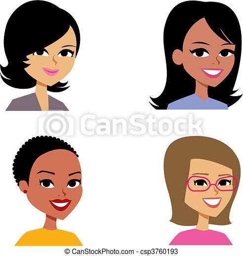 Cartoon avatar retrato de las mujeres ilustradas - csp3760193