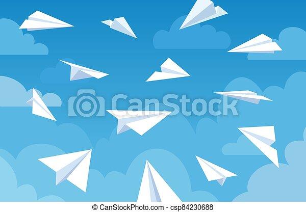 aviones, direction., azul, vector, ángulos, nubes, o, sky., mensaje, blanco, diferente, concepto, trabajo en equipo, aviones, vuelo, viaje, papel - csp84230688
