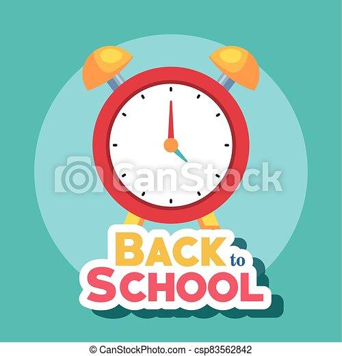 bandera, escuela, reloj, alarma, espalda - csp83562842