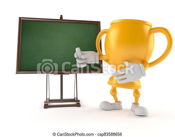 blanco, dorado, trofeo, pizarra, carácter - csp83588656