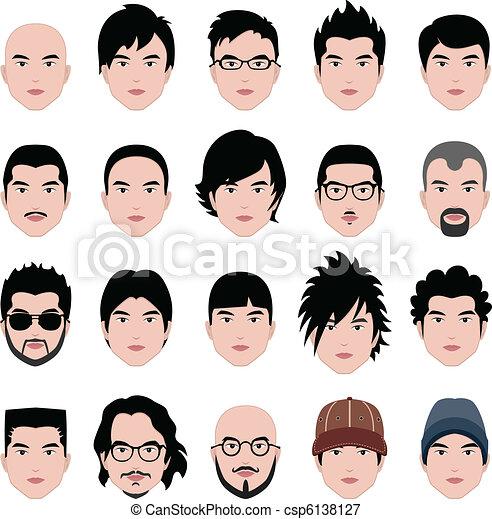 Hombre con cara de hombre peinado de cabeza - csp6138127