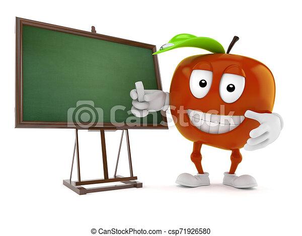 carácter, blanco, manzana, pizarra - csp71926580