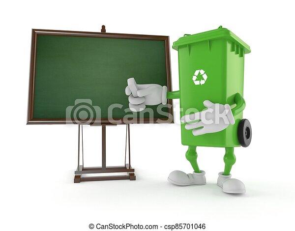 carácter, pizarra, blanco, tacho de basura - csp85701046