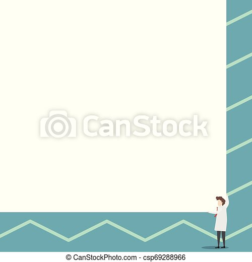 Los científicos mantienen una tabla cuadrada con sus dos manos. El hombre de pie se encarga de la gran tabla de presentación. Erudito mostrando al público nuevos inventos para ahorrar energía. - csp69288966