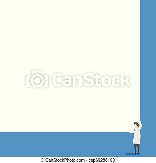 Los científicos mantienen una tabla cuadrada con sus dos manos. El hombre de pie se encarga de la gran tabla de presentación. Erudito mostrando al público nuevos inventos para ahorrar energía. - csp69288193