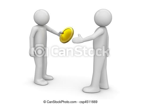 Hombre dando monedas a otro - csp4511669