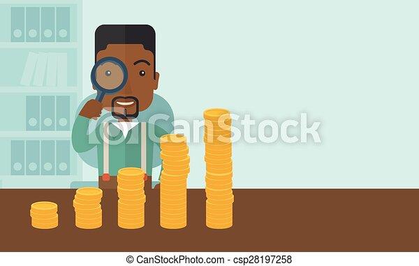 Un hombre negro mirando su creciente negocio usando una lupa. - csp28197258