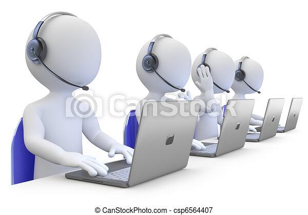 Empleados trabajando en un centro de llamadas - csp6564407
