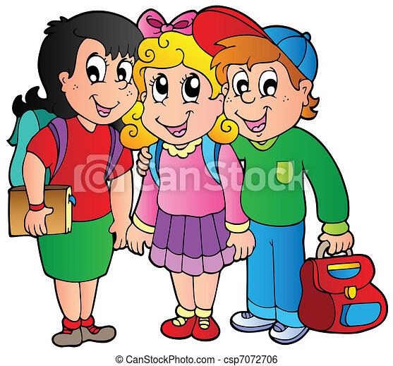 Tres niños felices - csp7072706