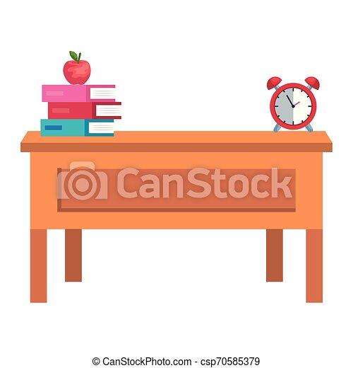 Escritorio de profesores con libros y despertador - csp70585379