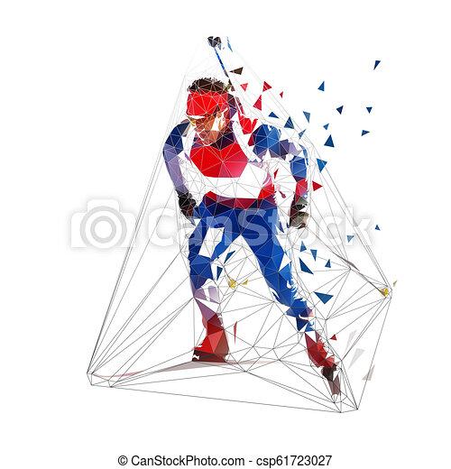 Esquí de Biathlon, esquiador poligonal bajo en camiseta azul. Ilustración vectorial aislada - csp61723027