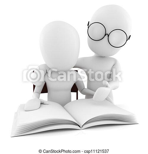 Tercer maestro y estudiante, estudiando, aislado en blanco - csp11121537