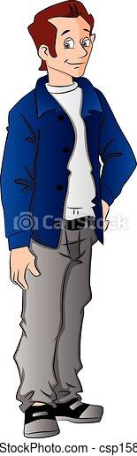 Vector de joven guapo con la mano en la cadera. - csp15801824