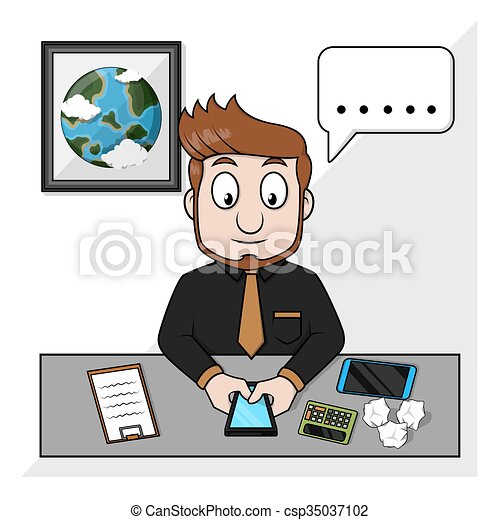 Hombre de negocios hablando por teléfono - csp35037102