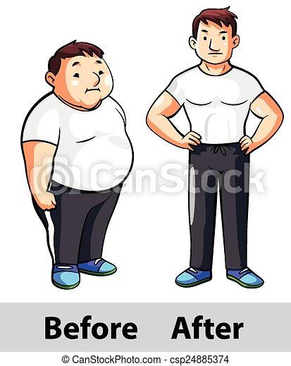 En forma masculina antes de después - csp24885374