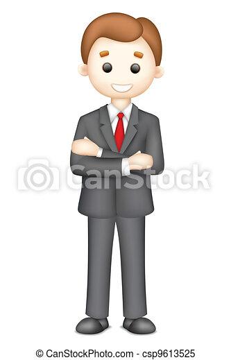 3d hombre de negocios confiado en vector - csp9613525