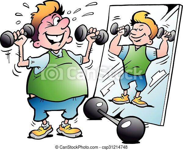 Hombre gordo haciendo ejercicio - csp31214748
