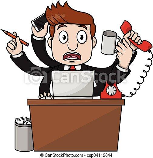 Hombre de negocios ocupado - csp34112844