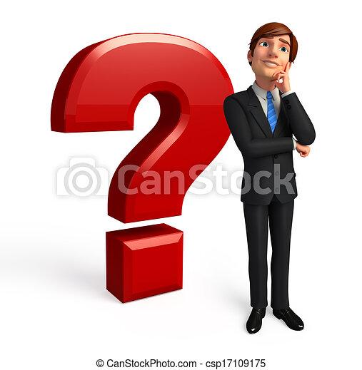 Hombre de negocios con signo de interrogación - csp17109175