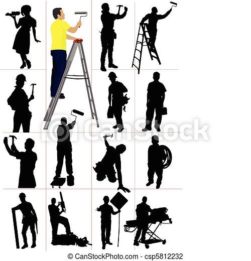 Los obreros siluetas. Hombre y mujer - csp5812232