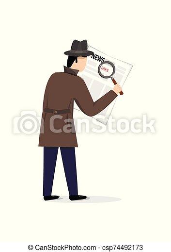 hombre, vertical, periódico, aislado, sombrero, lupa, blanco, noticias, mirar, chamarra, ilustración, vector, plano de fondo, falsificación - csp74492173