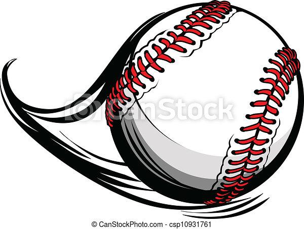 Ilustración del vector de softball o béisbol con líneas de movimiento - csp10931761