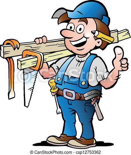 Ilustración de un carpintero feliz - csp12753362