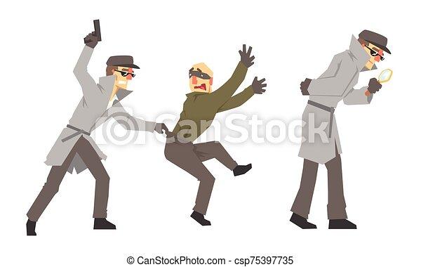 ilustración, plano de fondo, vector, dirigir, detective, investigación, blanco, aislado, arma de fuego, lupa, policía, conjunto, privado - csp75397735