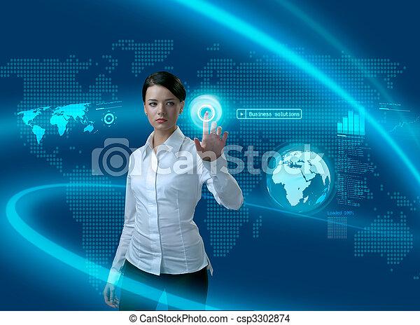 Futuros negocios solucionan a la mujer de negocios en interfaz - csp3302874
