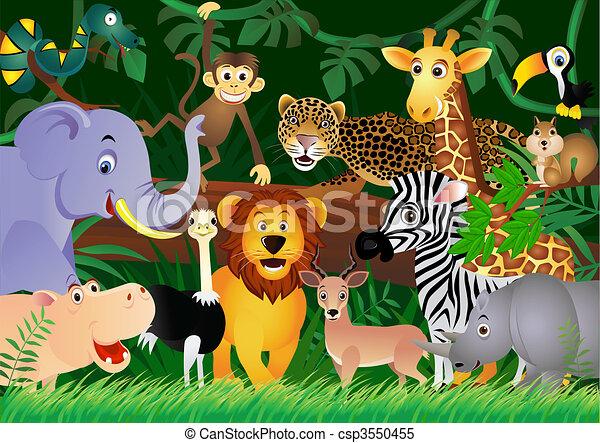 Lindos dibujos animados en la jungla - csp3550455