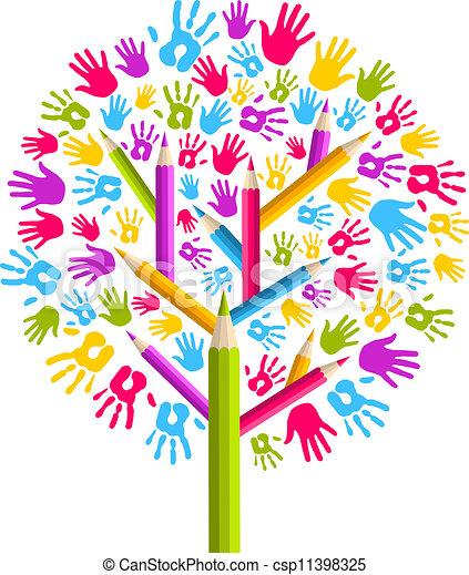 Manos educativas de Diversidad - csp11398325