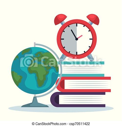 Mapa global con libros y alarma de reloj - csp70511422
