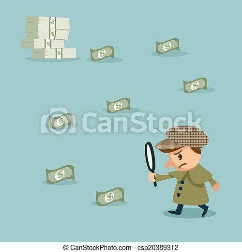 Usando lupa para mirar el dinero - csp20389312