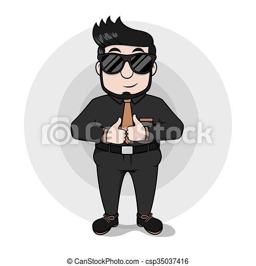 Un hombre de negocios con ojos brillantes usando a Blac - csp35037416
