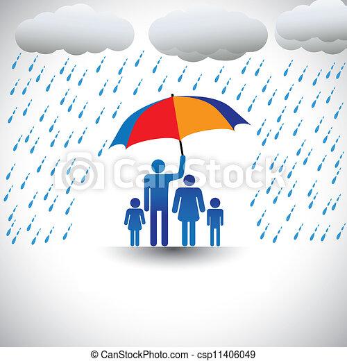 Padre protegiendo a la familia de lluvias pesadas con paraguas. El gráfico representa al padre sosteniendo un colorido paraguas cubriendo a su familia que incluye a su esposa e hijos (concepto de cuidar, amar, etc.) - csp11406049