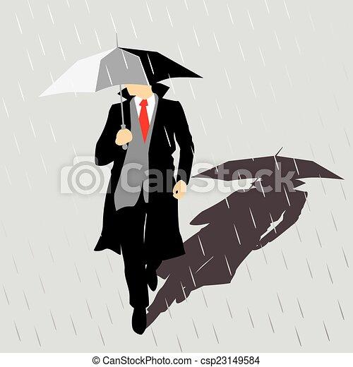 Rain Man con paraguas - csp23149584