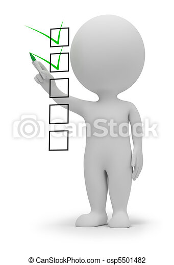 3 personas pequeñas, lista de cheques - csp5501482