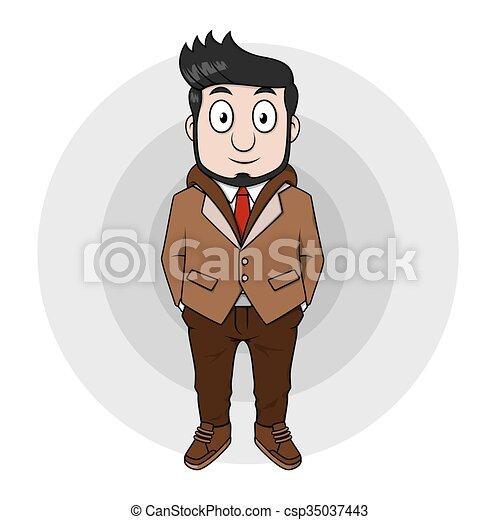 Hombre de negocios usando abrigos de piel geniales - csp35037443