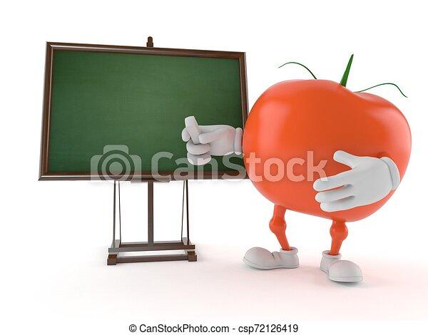 pizarra, tomate, blanco, carácter - csp72126419