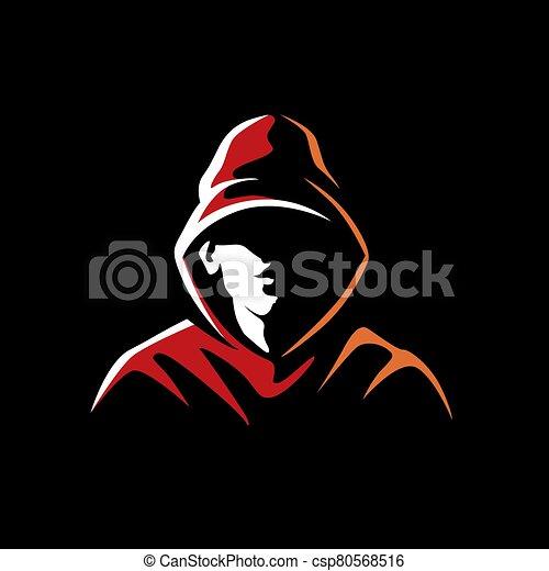 plano de fondo, misterioso, hombre, oscuridad, capucha - csp80568516