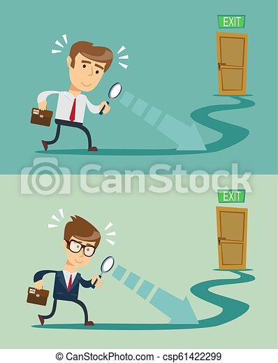 Solución para el concepto de negocios. El hombre mira oportunidades abiertas. Ilustración de vectores plana. - csp61422299