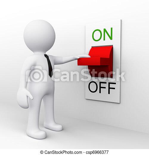 Hombre 3D parado cerca del interruptor - csp6966377