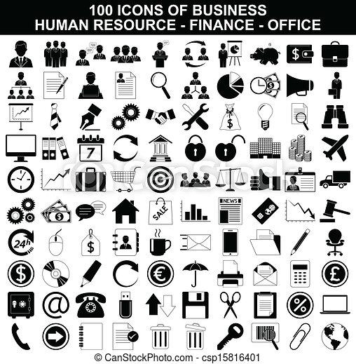 Un conjunto de iconos empresariales, recursos humanos, finanzas y oficinas - csp15816401