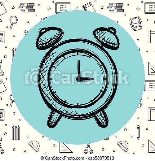 Reloj de alarma con suministros escolares - csp58070513