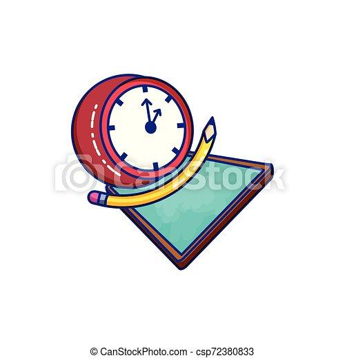 Reloj de tiempo con clase y lápiz - csp72380833